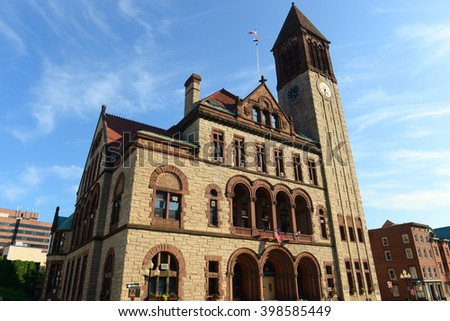 Albany City Hall was built in 1880 with Richardson Romanesque style by Henry Hobson Richardson. The building is served as the seat of government of Albany City in downtown Albany, New York State, USA. - stock photo