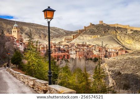 Albarracin  - medieval terracotte village in Aragon, Spain - stock photo