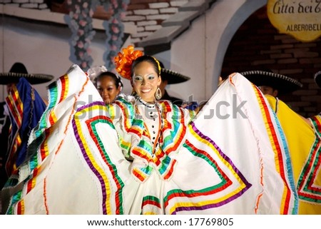 ALBEROBELLO, ITALY - 2, AUGUST 2008: Mexican Dancers at the International Folklore Festival in Alberobello, Italy, in August, 2008. This dancer belongs to the Ballet Ateneo Fuente, Mexico. - stock photo