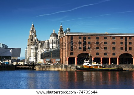 Albert Dock and Liver Buildings Liverpool UK - stock photo