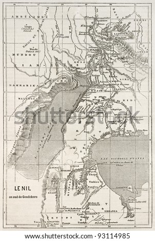 Alberta and Victoria lakes region old map, Nil river south of Gondokoro.  Created by Erhard, published on Le Tour du Monde, Paris, 1867 - stock photo