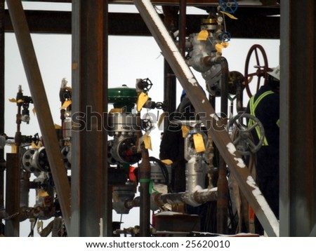 Alberta oil refinery component assembled in Edmonton, awaiting delivery to Fort McMurray, AB. Canada Feb. 2009 - stock photo