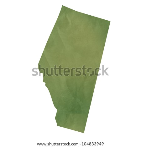 Alberta province of Canada map in old green paper isolated on white background. - stock photo