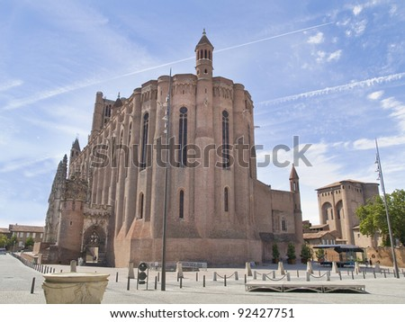 Albi cathedral. This medieval town is located in France.