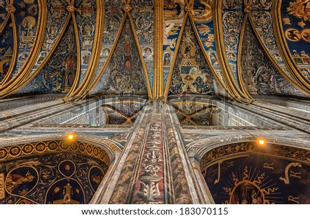 ALBI, FRANCE - MAY 10, 2013: Albi Cathedral interior. Albi, France.