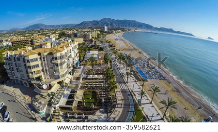 Albir, Aerial view of a sunny morning in Spanish Town along Costa Blanca, Albir. near Altea, province of Alicante. Amazing footage also available from that point of view. Check this out in my gallery - stock photo