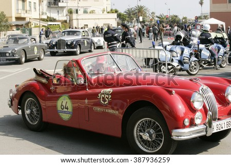 Albisola, SV, ITALY - March 2009: Display of vintage cars