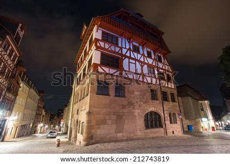 Albrecht Duerer House Nuernberg at night - stock photo