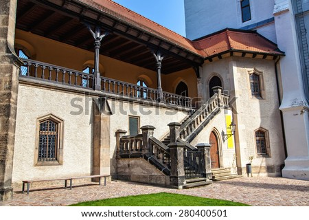 Albrechtsburg is a late Gothic castle that dominates the town center of Meissen  - stock photo