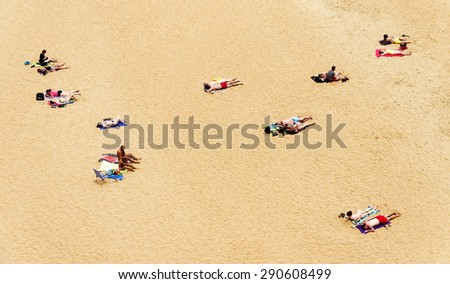 Albufeira city beach, Algarve region, south Portugal - stock photo