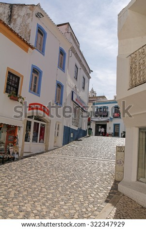 ALBUFEIRA, MARCH 29: one of the street in historic center of Albufeira; on March 29, 2015 Albufeira, Portugal. It's most popular resort in Algarve