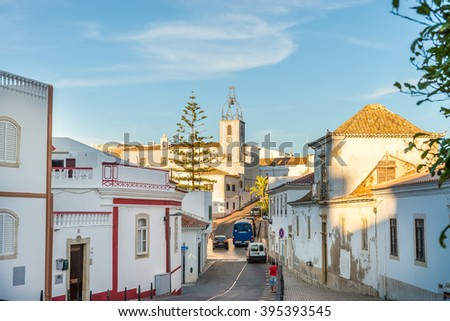 Albufeira, Portugal, may1, 2014: Street view in historic center of Albufeira; Albufeira, Algarve, Portugal. - stock photo