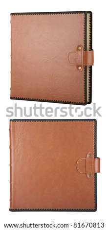 Album in leather cover, isolated on white (with clipping patch) - stock photo