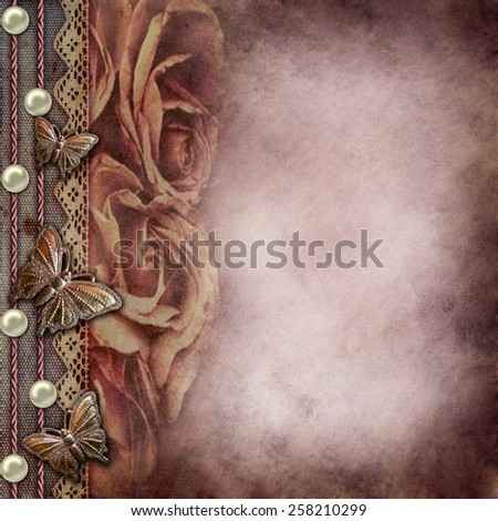 Album old  cover with roses, lace, rope, pearls - stock photo