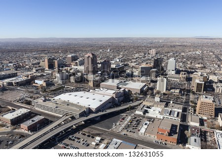 Albuquerque New Mexico downtown aerial view. - stock photo
