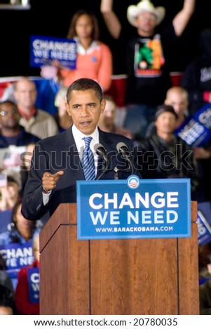 ALBUQUERQUE – OCT 25: US Presidential candidate, Barack Obama, gestures while speaking at a rally at the University of New Mexico on October 25, 2008 in Albuquerque. - stock photo