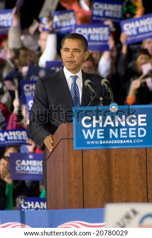 ALBUQUERQUE – OCT 25: US Presidential candidate, Barack Obama, pauses while speaking at a rally at the University of New Mexico on October 25, 2008 in Albuquerque. - stock photo