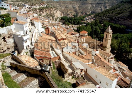 Alcala del Jucar (Albacete) rural town, top 100 most beautiful villages in Spain - stock photo