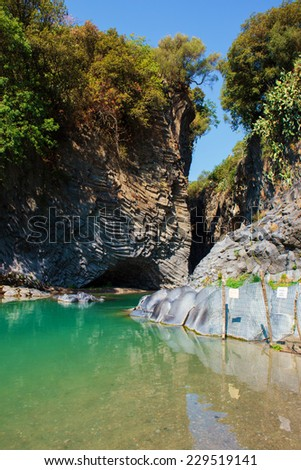Alcantara Gorge and Alcantara river park in Sicily Island, Italy - stock photo