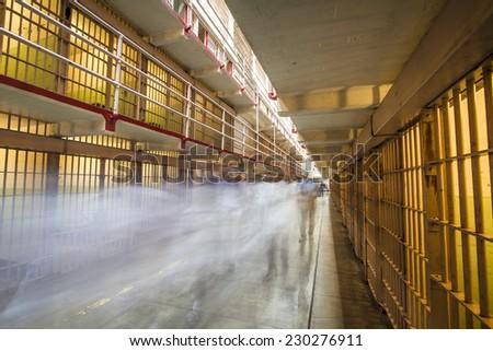 Alcatraz Cell Block - stock photo