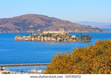 Alcatraz Island and Hyde Street Pier, San Francisco, California - stock photo