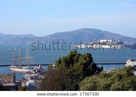 Alcatraz island and Maritime National Historical Park, San Francisco - stock photo