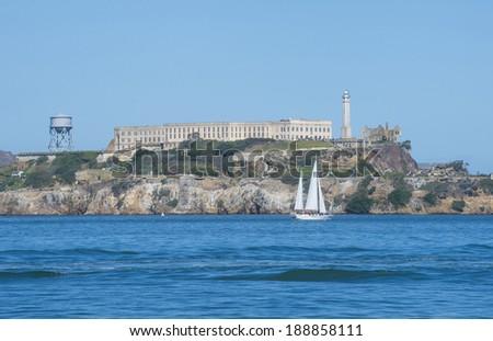 Alcatraz Island as seen from San Francisco - stock photo