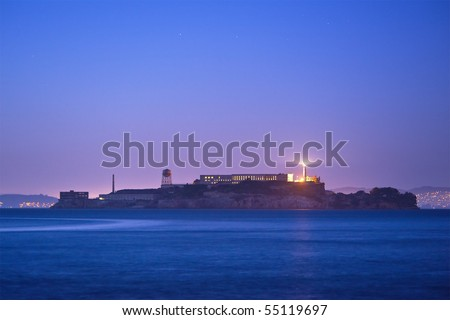 Alcatraz Island at dusk - stock photo