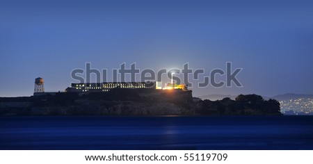Alcatraz Island at dusk - stock photo