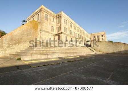 Alcatraz Island Federal Penitentiary Prison Building in San Francisco Bay - stock photo
