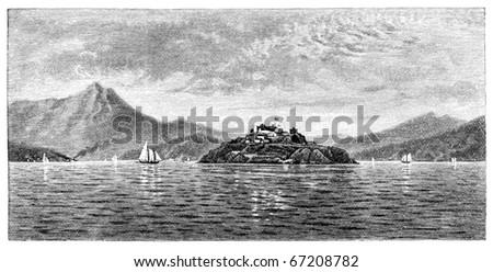 Alcatraz island in San Francisco. Originally published in a magazine in 1883 - stock photo
