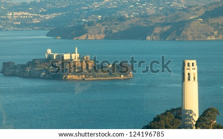 Alcatraz Island in San Francisco, USA - stock photo