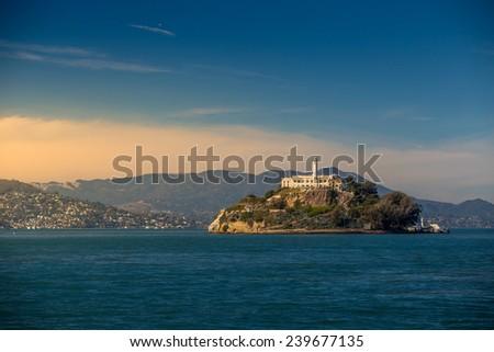 Alcatraz Island in San Francisco, USA. - stock photo