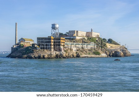 Alcatraz island on San Francisco Bay - stock photo