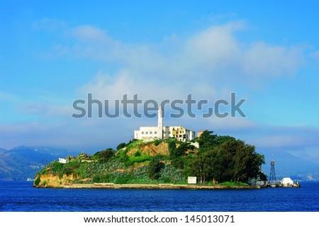 """Alcatraz Island on San Francisco Bay.  """"Alcatraz on the Bay"""" - stock photo"""