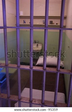 alcatraz jail cell - stock photo