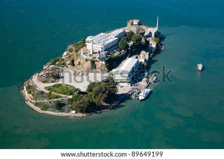 Alcatraz jail in San Francisco bay aerial view - stock photo