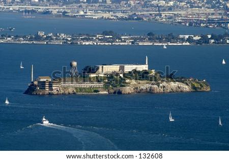 Alcatraz prison in San Francisco Bay - stock photo