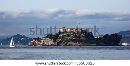Alcatraz Prison on island , San Francisco - stock photo
