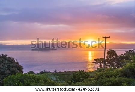 Alcatraz when sunrise ,san francisco,California,usa. - stock photo