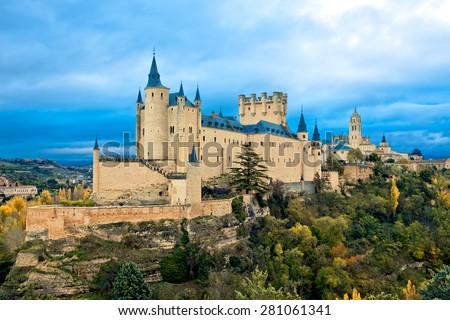 Alcazar Castle in Segovia, Spain - stock photo