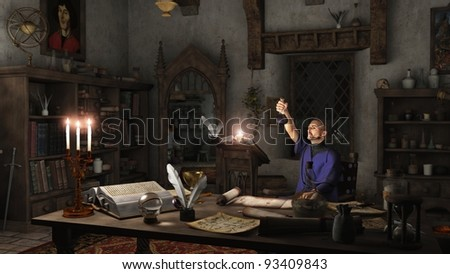 Alchemist working in his study surrounded by books, potions and instruments, 3d digitally rendered illustration