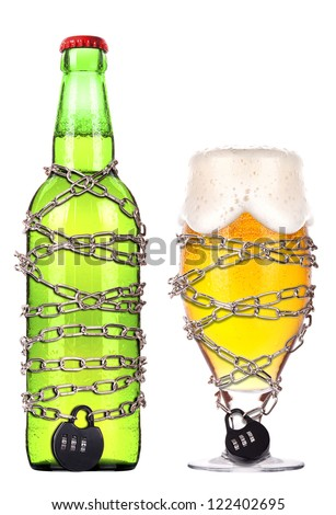 alcohol abuse concept - background with beer locked on a chain  isolated - stock photo