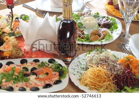 alcohol and restaurant appetizers - stock photo