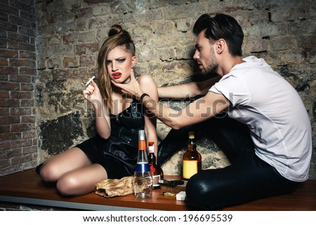 alcohol bad lifestyle - stock photo