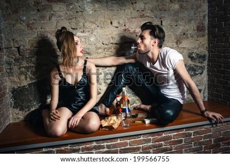 alcohol bad lifestyle couple - stock photo