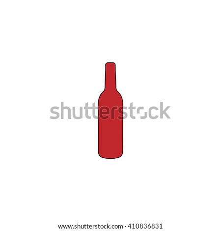 alcohol bottle Simple red icon on white background. Flat pictogram - stock photo