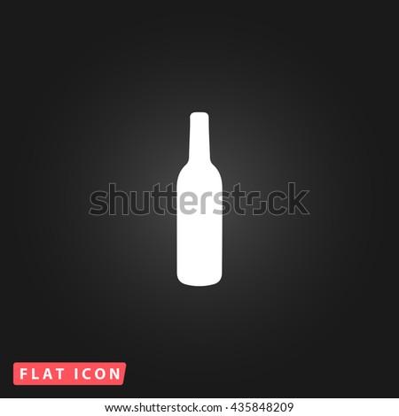 alcohol bottle White flat icon on dark background. Simple illustration pictogram - stock photo