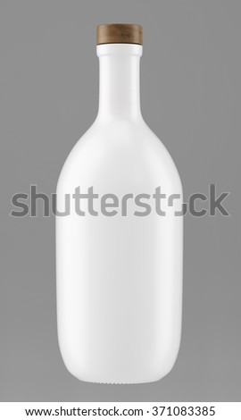 Alcohol bottle with a wooden stopper isolated on gray background. Tincture, balsam, whiskey, cognac, brandy, wine. 3D Mock up for you design. - stock photo