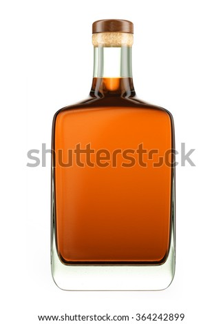 Alcohol bottle with a wooden stopper isolated on white background. Tincture, balsam, whiskey, cognac, brandy, wine. 3D Mock up for you design. - stock photo